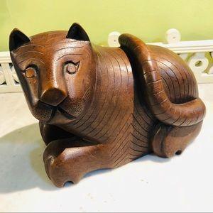 Vintage Carved Teak Wood Thai Cat Hidden Slot 1987